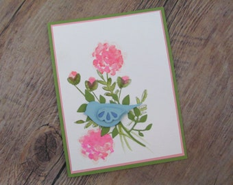 Blue Bird All Occasion Card, Choose Your Own Sentiment for Customization