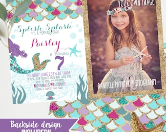 Photo Mermaid Birthday invites - Purple Fuchsia teal and gold - Girls Mermaid Birthday party - Instant download and edit