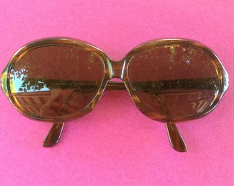 French Sol Amor 1960s Vintage Women Mod Sunglasses - Marble Brown Frame - MADE IN FRANCE - New
