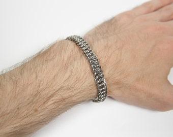 Half Persian 4-1 Bracelet, Chainmaille Bracelet, Stainless Steel, Chainmail Bracelet, Chain Maille, Chain Mail, Mens Bracelet, Mens Jewelry