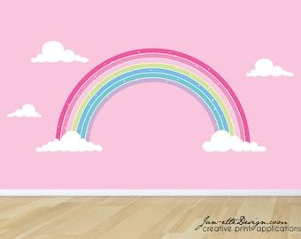 Rainbow Wall Decal, Pink Rainbow Fabric Wall Sticker,Girls Pink Rainbow Wall Decor