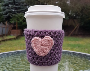 Heart Coffee Cozy, Valentine's Day Gift, Knit Coffee Sleeve, Reusable Coffee Sleeve, Knitted Coffee Cozy with Heart, Coffee Cozy, Handmade