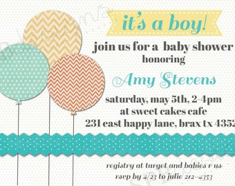 Baby Boy Shower Invitation -- Chic Balloons