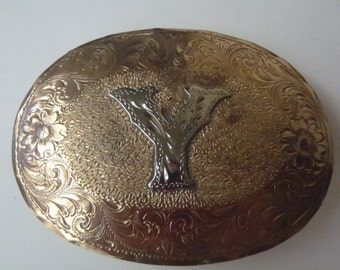 Y Initial Western Belt Buckle Brass Silver Engraved Large