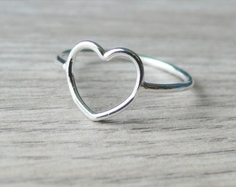 Open heart ring • Sterling Silver heart ring • Romantic gift for her • Sterling silver ring