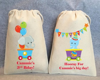 "12- Circus Birthday, Circus animal party, Circus party favor, Circus Birthday, under the big top, bags 4"" by 6"""