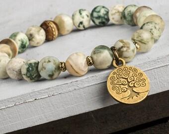 Agate Bracelet, Tree of Life Bracelet, Gemstone Mala, Mala Bracelet, Energy Bracelet, Men Bead Bracelet