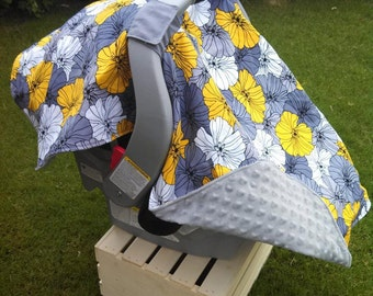 Baby Car Seat Cover - Baby Car Seat Canopy - Grey Car Seat Canopy - Yellow Car Seat Canopy - Minky Car Seat Canopy - Baby Shower Gift