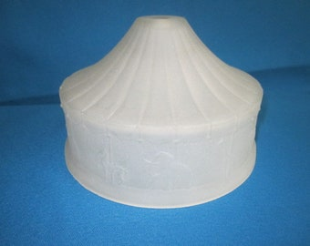 Vintage 1930s/40s Frosted White Glass Lamp Shade with Embossed Carousel Circus Animals Design