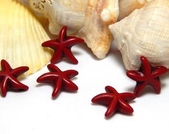 10 Dark Red Starfish Beads, Starfish Beads, Red Starfish, Sea Life Beads, Star fish Beads, Red Flower Beads, Starfish Charm, T-99A