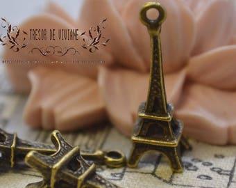 set of 10 QKA031 pendant, Eiffel Tower bronze