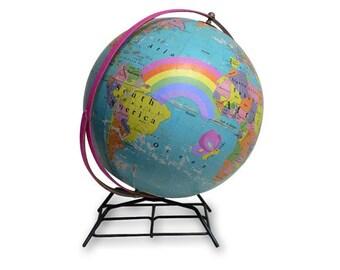 Vintage Globe Art, Spread Love, Nursery Art, World Globe Art, Kids Decor