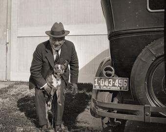 Man, Dog, Vintage Car in the 1920s:  Nostalgic Photo from  Original Negative 8x10