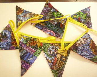 Handmade  Beauty and the Beast Bunting 2mt long 8 Flags