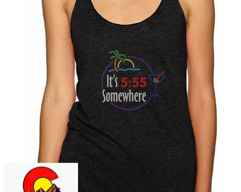 It's 5:55 Somewhere - WOMEN's flowy racerback tank - Phish song / charcoal grey / comfortable cotton / comfy / rockin'
