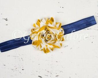 Navy Mustard Yellow and Ivory Headband, Baby headband, Mustard baby headband, Navy Blue Girls headband, baby headband