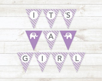 baby girl shower bunting banner printable bunting banner purple elephant baby shower hanging banner - INSTANT DOWNLOAD