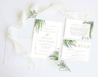 Palm Beach Gold   Wedding Event Invitation Suite   Printable Digital File Printed Invite Invitations Stationery
