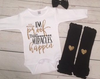 Miracle Baby Outfit Set - God's Gift - Rainbow Baby - Miracle Baby - Faith - Inspirational