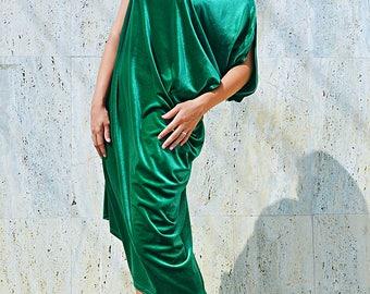 Velvet Green Kaftan, Asymmetrical Maxi Kaftan, Green Velvet Caftan, Velvet Dress, Elegant Velvet Dress TDK273 by TEYXO