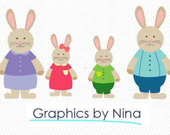 INSTANT DOWLOAD   Rabbit Family clipart  Scrapbook for Personal and Commercial Use