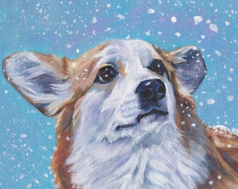 "Pembroke Welsh Corgi portrait Canvas print of LA Shepard painting 12x12"" dog art winter xmas snow"