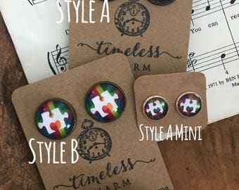 Autism Awareness Puzzle Piece Vintage  Inspired Earrings Primary Studs
