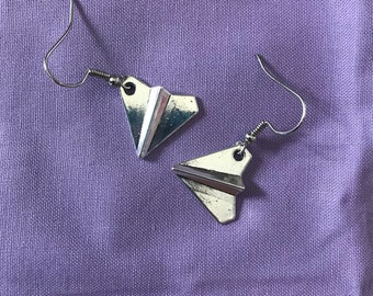 Paper airplane style earrings