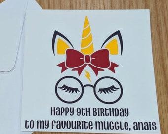 Personalised Harry Potter unicorn card