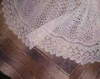 Traditional Shetland Circular Christening Baby Shawl, Receiving, Shower Shawl/Blanket. Pure Australian 100% Merino Wool. Heirloom.