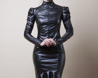 Victorian Faux Leather Jacket- Made to Order (Faux Leather or PVC)