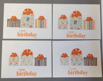 Birthday Card Set, Orange Birthday Cards, Set of 4 Birthday Cards and Envelopes