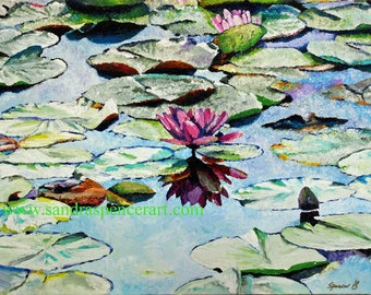 "Water Lilies Original Oil Painting 18""x24"" calm and serence"