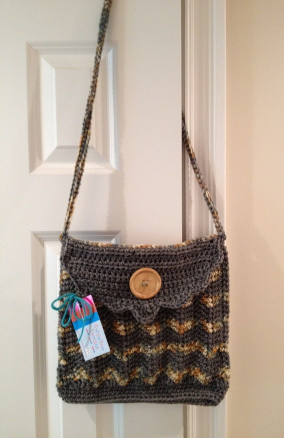 Beautiful Chevron Messenger-Style Purse Crocheted in Worsted Yarn and is Primarily Grey with Creams and Tans