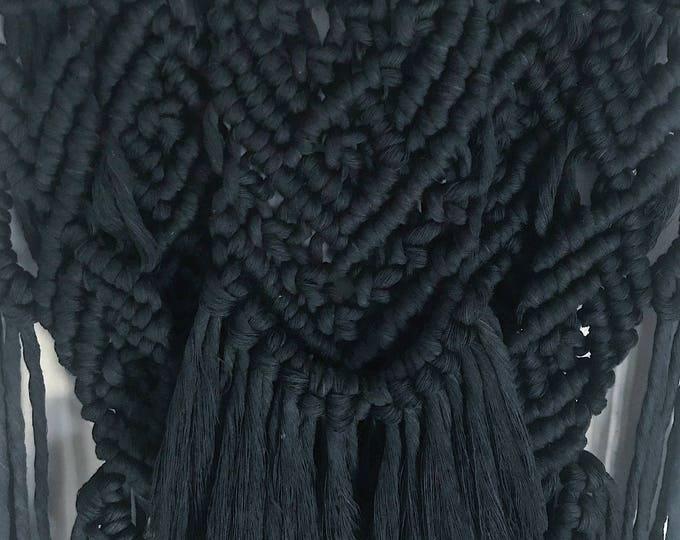 E C L I P S E - handmade black macrame wallhanging