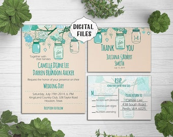 DIGITAL, Wedding Invitation, Mason Jar, Teal mint wedding invite, Printable Digital file, Wedding Invitation, RSVP, Invite, rustic wedding