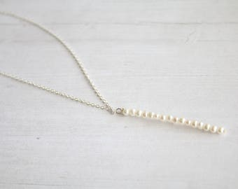 Vertical pearl bar necklace, tiny pearl necklace, gifts for her, bridesmaids gifts, minimalist jewelry, pearl necklace, layering necklace