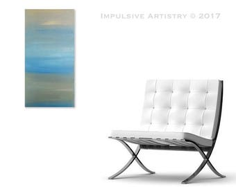 Calm - Acrylic Abstract Painting Decor, 12x24in - Pastel Yellow, Mint Green, Light Blue