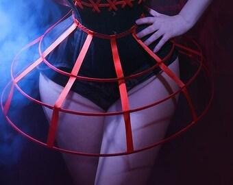 Red color Crinoline hoop skirt pannier 3 rows elastic waist simple cage