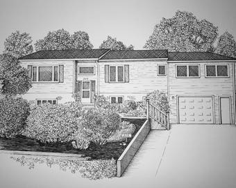 House Portrait Pen and Ink Black and White One of a Kind Custom Art 8x10