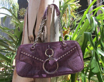 Charles david Purple Leather Purse Studs Chain Steampunk