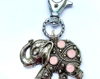 Elephant Keyring, Elephant Bag Charm, Rhinestone Elephant, Pink Elephant, Elephant Gift, Elephant Accessory, Lucky Elephant