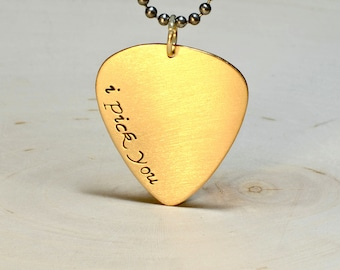 Golden Bronze Guitar Pick Necklace with I Pick You - NL105