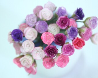 Handmade Miniature Roses Polymer Clay Beads Supplies 24 pcs