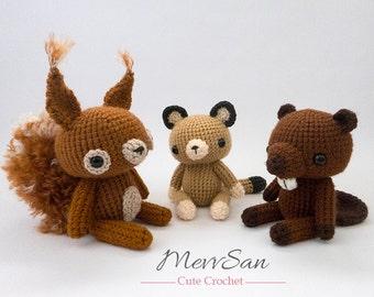 Crochet Woodland Critters PATTERN BUNDLE 4 - Amigurumi Squirrle, Cougar, Beaver Plush Dolls