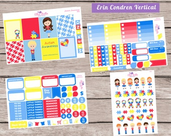 DELUXE Weekly Planner Sticker Set |  Autism Awareness | Erin Condren Vertical Life Planner