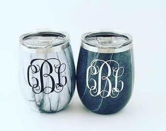 Marble Stainless stemless Steel wine glass, Monogram Cup, Monogram Gift, Beach Cup, Monogram Tumbler, Wine Tumbler, Personalized Tumbler