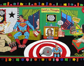 ALTERED GAME BOARD attached to 1/2 thick wood, Colorful Assemblage - Whimsical Collage with recycled/found materials