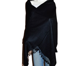 Black Women's Solid Color Pashmina Shawl Wrap Stole Scarf