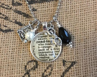 Reading Dictionary Charm Necklace - Gift for Reader, Gift for Writer.
